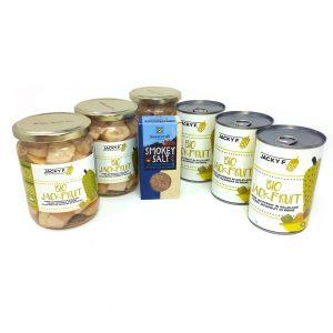 Set 3 latas y 3 botes Bio Jackfruit más sal ahumada ecológica.