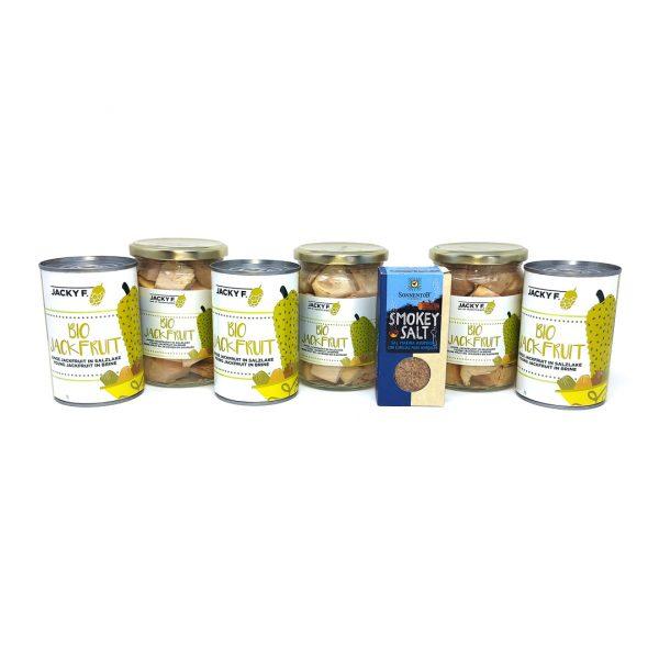 producto Set 3 latas y 3 botes Bio Jackfruit más sal ahumada ecológica