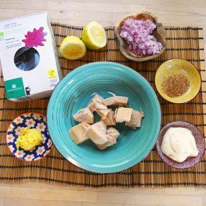 ingredientes preparando receta No atún Sándwich con Jackfruit